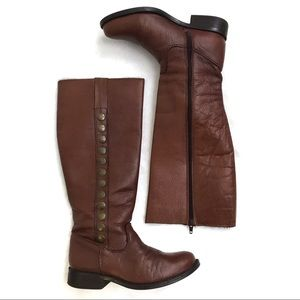 STEVE MADDEN • P-Symon Brown Leather Riding Boot